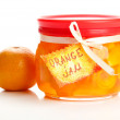 Orange jam with zest and tangerine, isolated on white — Stock Photo