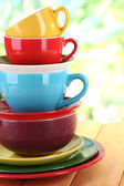 Mountain colorful dishes close-up — Stock Photo