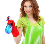 Young woman holding sprayer, isolated on white — Stock Photo