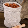 Beans in sack on wooden background — Stock Photo #24601633