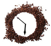 Wall clock of coffee beans isolated on white — Stock Photo