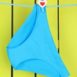 Womans panties hanging on a clothesline, on green wooden background — Stock Photo #24615181