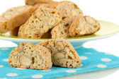 Aromatic cookies cantuccini on napkin isolated on white — Stock Photo