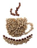 绿色和棕色白色上孤立的咖啡豆喝杯 — 图库照片