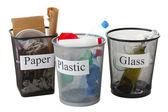 Three buckets of assorted debris isolated on white — Stock Photo