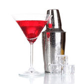 Cocktail shaker and cocktail isolated on white — 图库照片