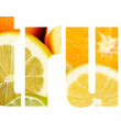 Word citrus made of fruits on orange background — Stock Photo