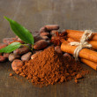 Cocoa beans, cocoa powder and spices on wooden background - Lizenzfreies Foto