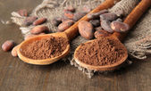 Cocoa powder in spoons and beans on wooden background — Stock Photo