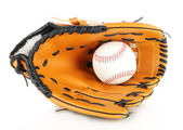 Baseball glove and ball isolated on white — Stock Photo