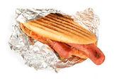 Delicious hot dog isolated on white — Stock Photo