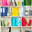 White office shelves with different stationery, close up — 图库照片