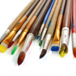Many brush in paint close-up — Stock Photo