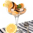 Stock Photo: Cocktail of mussels in vase isolated on white