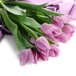 Beautiful bouquet of purple tulips on satin cloth, isolated on white — Stock Photo #24799901