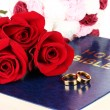 Wedding rings with roses on bible isolated on white - Stock Photo