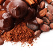 Royalty-Free Stock Photo: Composition of chocolate sweets, cocoa and spices, isolated on white