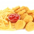 Fried chicken nuggets with french fries and sauce isolated on white — Stock Photo #24800521