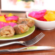 Stuffed cabbage rolls on table at home - Foto Stock