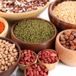 Different kinds of beans in bowls close-up — Stock Photo