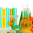 Molecule model and test tubes with colorful liquids isolated on white - Stock Photo