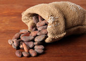 Cocoa beans in bag on wooden background — Stock Photo