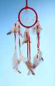 Beautiful dream catcher on blue background — Stok fotoğraf