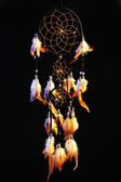 Beautiful dream catcher on black background — Стоковое фото