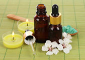 Spa composition with aroma oils on table close-up — Foto Stock