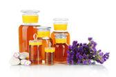 Bottiglie di medicina isolati su bianco — Foto Stock