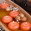 Beautiful candles in water on wooden table close-up - Stock Photo