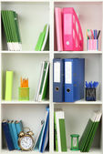 White office shelves with different stationery, close up — Stock Photo