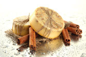 Hand-made soap and bamboo with drops, close up — Stock Photo