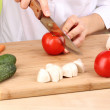 Chopping food ingredients — Stock Photo