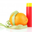 Orange with measuring tape and body cream, isolated on white — Stock Photo