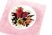 Ovoce v čokoládě na ubrousek — Stock fotografie