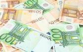 Euro banknotes close-up — 图库照片