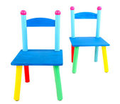 Small and colorful chairs for little kids isolated on white — Stock Photo