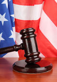 Judge gavel on american flag background — Stock Photo