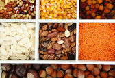Assortment of chestnut,beans — Stock Photo