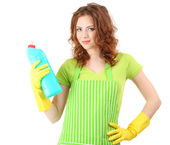 Young woman wearing rubber gloves with cleaner, isolated on white — Stock Photo