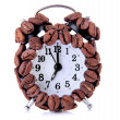 Alarm clock of coffee beans isolated on white — Stock Photo