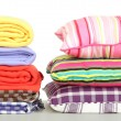 Bright pillows and plaids, isolated on white — Stock Photo