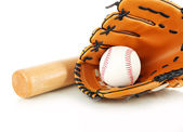 Baseball glove, bat and ball isolated on white — Stok fotoğraf