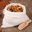 Nuts in sack on wooden background — Stock Photo #25030349