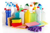 Different kinds of house cleaners and colorful sponges, gloves isolated on white — Stock Photo