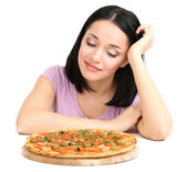 Beautiful girl wants to eat pizza isolated on white — Stock Photo