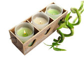Wooden candlestick with candles and bamboo, isolated on white — Stock Photo