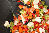 Vegetable ragout in wok, close up — Stock Photo
