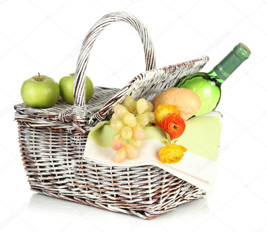 panier pique nique avec fruits et bouteille de vin isol sur blanc photo 25036707. Black Bedroom Furniture Sets. Home Design Ideas